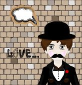 pic of mafia  - Vector illustration of cartoon mafia man with speech bubble - JPG