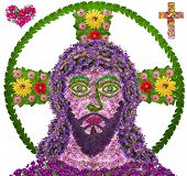 stock photo of sacred heart jesus  - Jesus Christ child naive portrait is made of fresh summer flowers - JPG