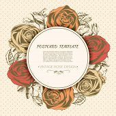 Vintage rose background. Vector greeting card