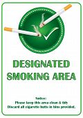 Designated smoking area printable sticker.