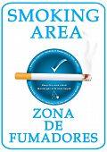 English and Spanish Smoking Area sticker for print