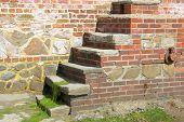 Brick Steps In Seawall. Bonham. England