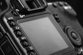 New photo camera details close-up
