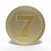 Golden number 7 isolated on white background