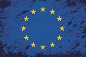 European Union flag. Grunge background. Vector illustration