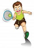 boy cartoon playing tennis