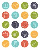 Cooking utensils and appliances Vector Line Icons Collection. Set of 20 kitchen and cooking related line icons in colored circles