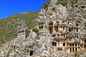 Ancient Lycian Tombs In Myra, Turkey