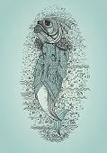 Hand Drawn Fish In Coat