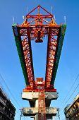 The steel structure of railway bridge