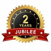 Jubilee Button With Banner - 2 Years