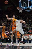 VALENCIA, SPAIN - FEBRUARY 15: Campazzo 7, Aguilar during Spanish League match between Valencia Basket Club and Real Madrid at Fonteta Stadium on February 15, 2015 in Valencia, Spain
