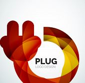 Abstract company logo design element - plug icon