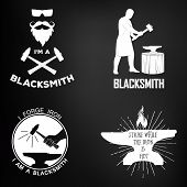 Vintage Monochrome Blacksmith Badges And Design Elements. For Example, It Can Be Printed On T-shirts