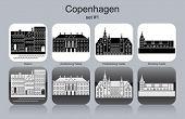 Landmarks of Copenhagen. Set of monochrome icons. Editable vector illustration.