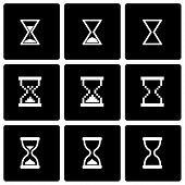 Vector black hourglass icon set