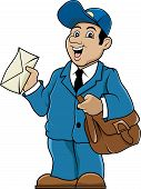 pic of postman  - Postman with bag and letter - JPG