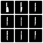 Vector black kitchen knife icon set
