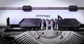 pic of old vintage typewriter  - Vintage inscription made by old typewriter strategy - JPG