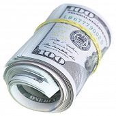 Roll of US dollars isolated over the white background