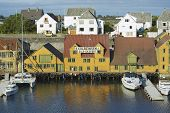 Exterior of the traditional wooden houses in Haugesund, Norway.