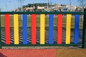 Painted Posts On A Playground