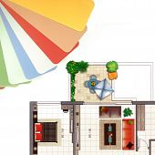 Color Palette With An Apartment Plan