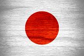 picture of japanese flag  - Japan flag or Japanese banner on wooden texture - JPG