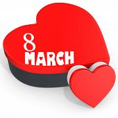 3D Heart Shaped Boxes With Women's Day 8 March