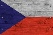 Czech Republic National Flag Painted Old Oak Wood Fastened