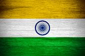 picture of indian flag  - India flag or Indian banner on wooden texture - JPG