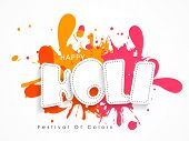 image of indian  - Indian festival of colors celebration poster or banner design with stylish text Happy Holi on splash background - JPG