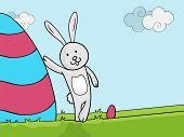 Happy Easter celebration with cute bunny standing near a colorful big egg on nature background.