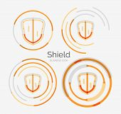 Thin line neat design logo set, clean modern concept, shield icon