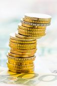 single stack of money coins symbol photo for financial planning, investment, investment risk