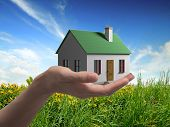 house in hand on a background of flowering meadows 3 D graphics construction