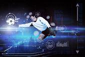 Goalkeeper against circuit board on futuristic background