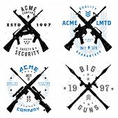Vector Gun Badges Set. All pieces are separated and easy to edit.