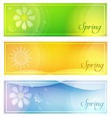Spring With Sun And Flowers Banners