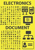 electronics, document, office, computer, media isolated flat icons, signs, symbols illustrations, images, silhouettes on background, vector