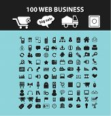 100 website, business, internet, logistics, ecommerce isolated flat icons, signs, symbols illustrations, images, silhouettes on background, vector
