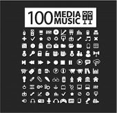 100 music, audio, media, video, movie isolated flat icons, signs, symbols illustrations, images, silhouettes on background, vector