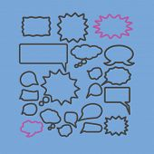 speech, chat, bubbles isolated flat icons, signs, symbols illustrations, images, silhouettes on background, vector