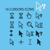 16 pixel cursors, hand, click, cursor, hand, search, select isolated flat icons, signs, symbols illustrations, images, silhouettes on background, vector