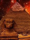 Sphinx, Pyramid Of Khafre And Small Magellanic Cloud (elements O