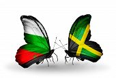 Two Butterflies With Flags On Wings As Symbol Of Relations Bulgaria And Jamaica