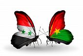 Two Butterflies With Flags On Wings As Symbol Of Relations Syria And Burkina Faso