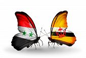 Two Butterflies With Flags On Wings As Symbol Of Relations Syria And Brunei