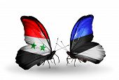 Two Butterflies With Flags On Wings As Symbol Of Relations Syria And Estonia