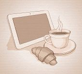 Vector morning with coffee and tablet. canvas texture
